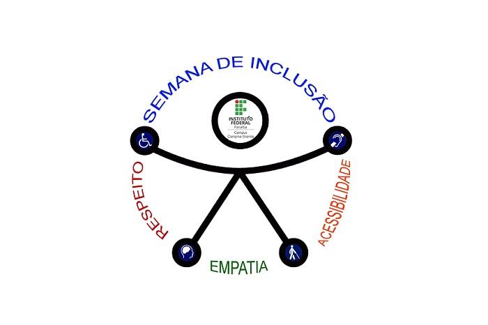 """Descrição da imagem: A logo do evento consiste no Ícone da Acessibilidade Universal estilizado. Uma figura humana preta simples, braços e pernas estendidos tocando o perímetro de um círculo formado pelas palavras """"Respeito"""" à esquerda, """"Empatia,"""" abaixo e"""